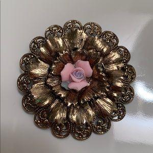 Vintage floral brooch with baby rose.